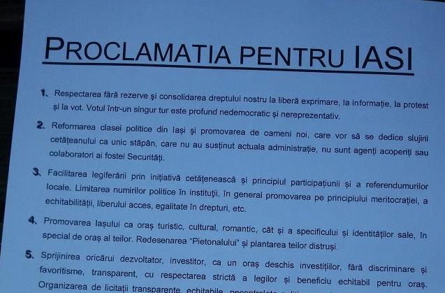 Proclamația pentru Iași. Ce vor ieșenii care protestează. Și de ce nu-l mai vor pe Nichita
