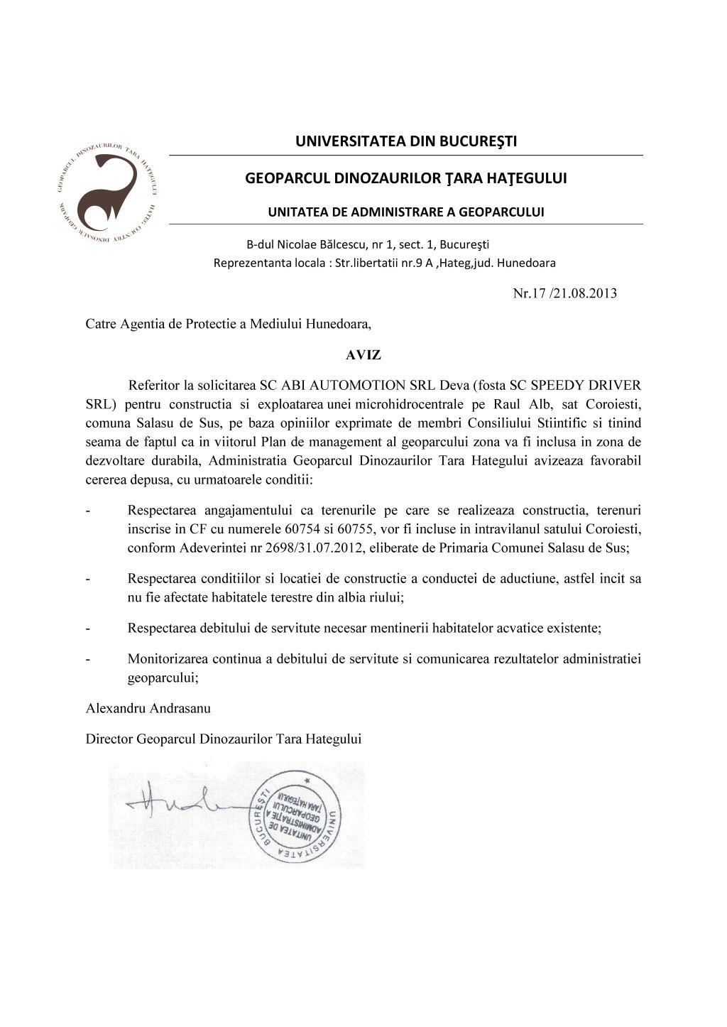 Anexa 1 aviz Geoparc pentru MHC Raul Alb