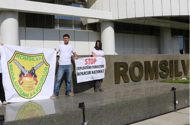 Sub semnul drujbelor încrucișate sau cât de mult o iubim noi pe Romsilva. Proteste, la București și în Hunedoara, de Ziua Europeană a Parcurilor Naționale