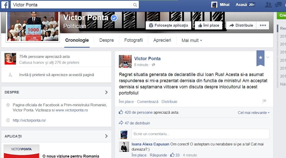 facebook demisia ioan rus