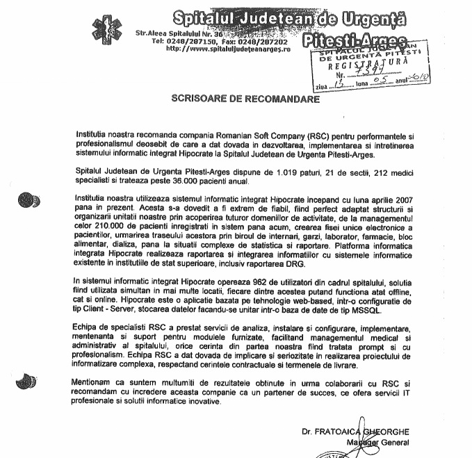 ghita vladescu scrisoare recomandare