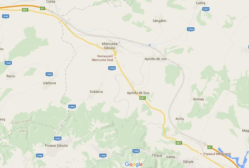 Linia punctată reprezintă segmentul de autostradă închis între Săliște și Cunța. Cu portocaliu deschis este varianta alternativă, pe DN1