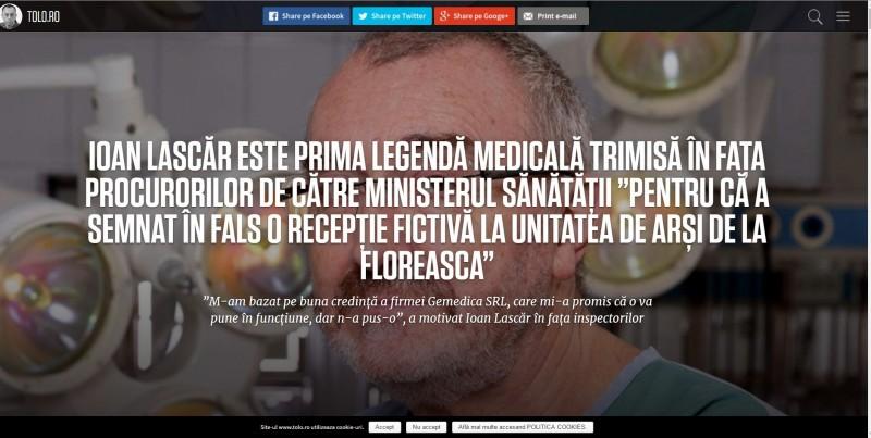Tolo.ro: O legendă medicală a ajuns la Parchet pentru că a semnat în fals recepția fictivă a Unității de Arși de la Floreasca