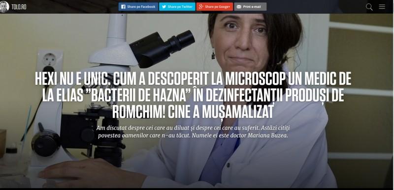 Tolo.ro: Cazul Hexi nu e unic. Bacterii de hazna au fost descoperite la Elias în săpunul lichid produs de Romchim, dar scandalul a fost mușamalizat