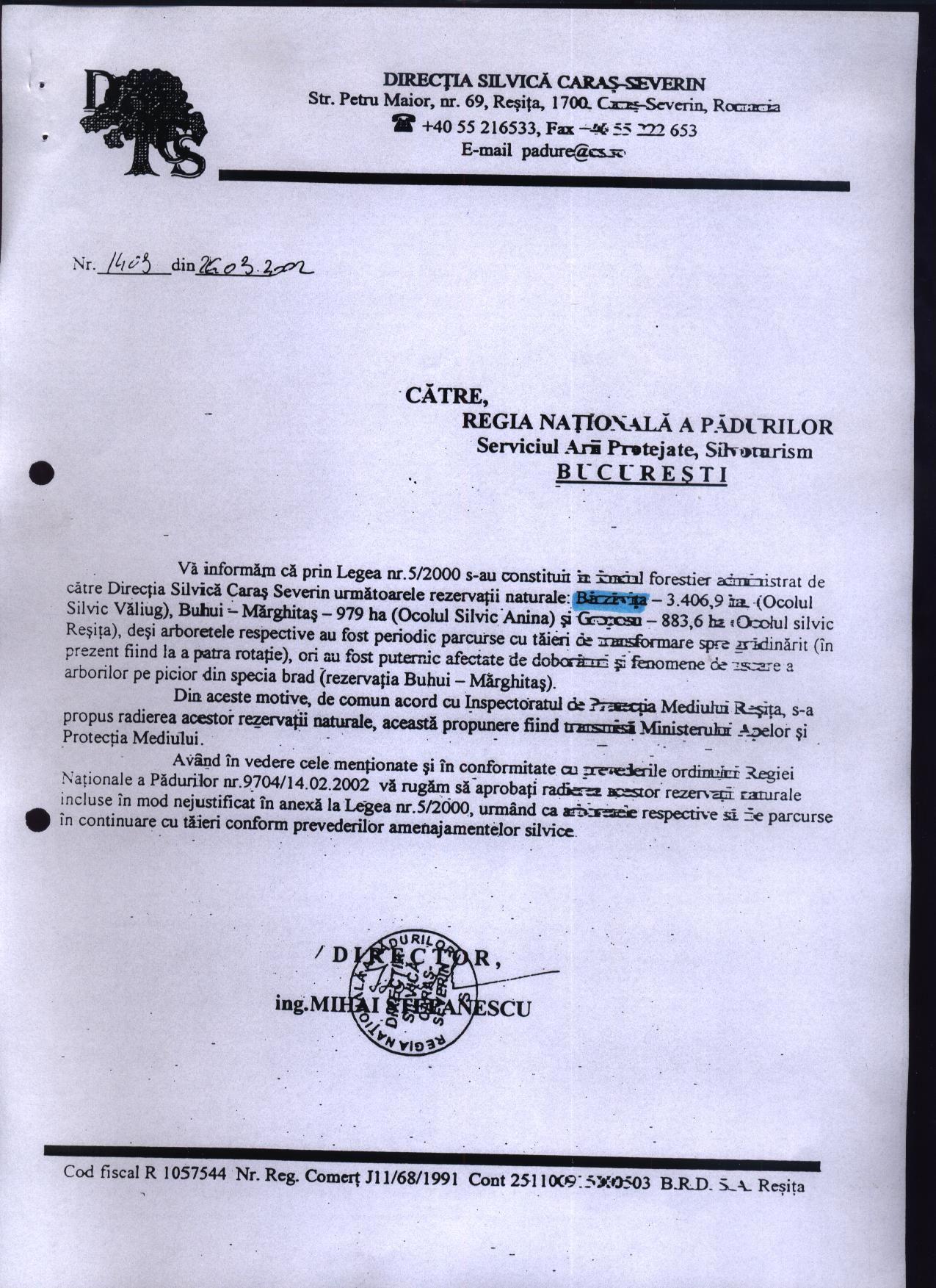 2002 directia silvica radierea