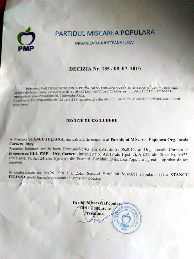 Decizia de excludere din partid a Iulianei Stancu