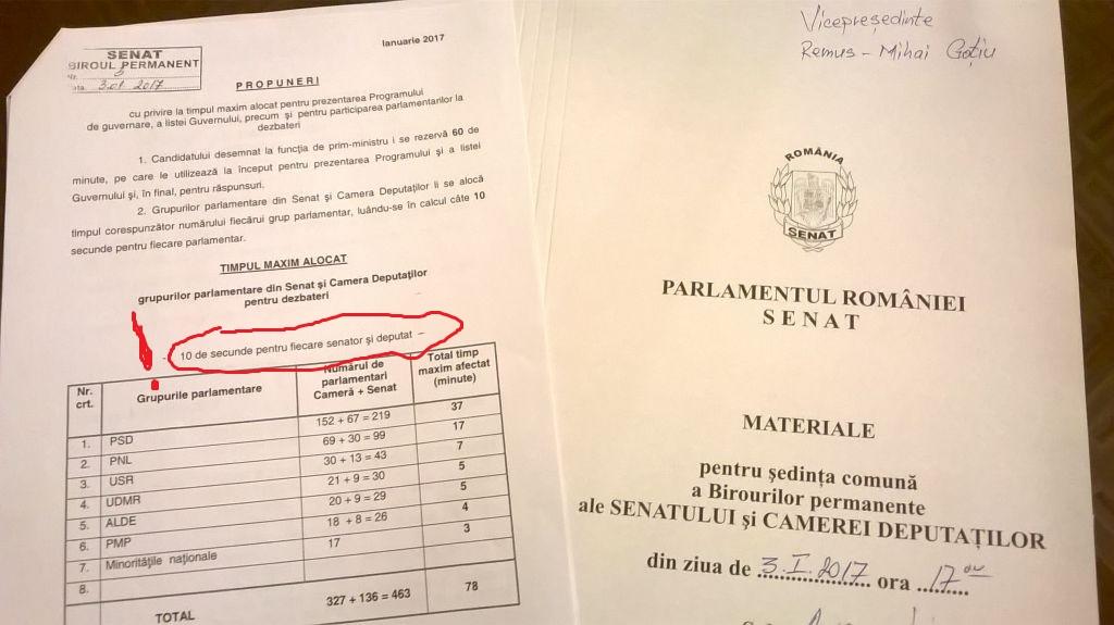 Cât durează democrația în România: 10 secunde pentru fiecare deputat și senator. Timp total de dezbatere pe programul  Guvernului - 78 de minute