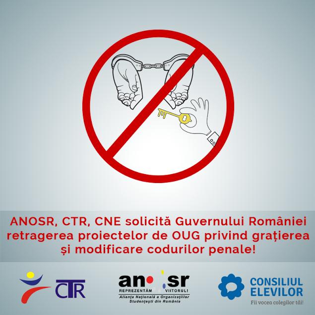 Tinerii din ANOSR, CTR și CNE cer retragerea ordonanțelor privind grațierea și amnistia