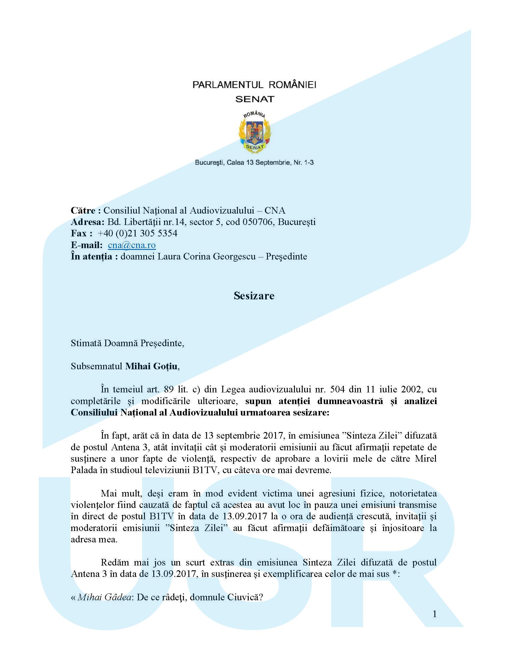 """Senatorul USR Mihai Goțiu a sesizat la CNA emisiunea """"Sinteza zilei"""" de la Antena 3"""