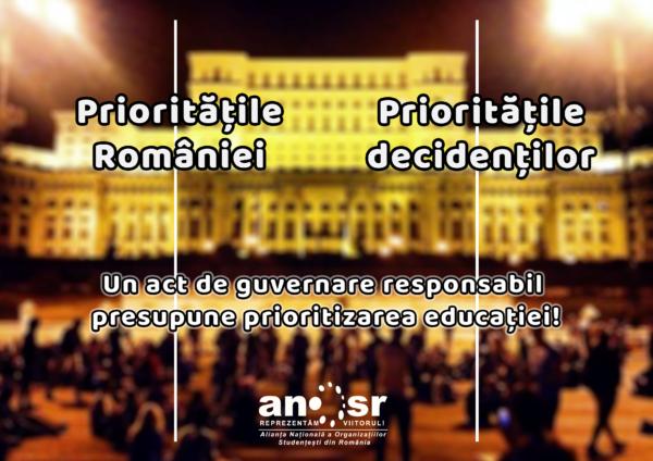 ANOSR: Ignorarea adevăratelor priorități ale României determină studenții să se pregătească de protest