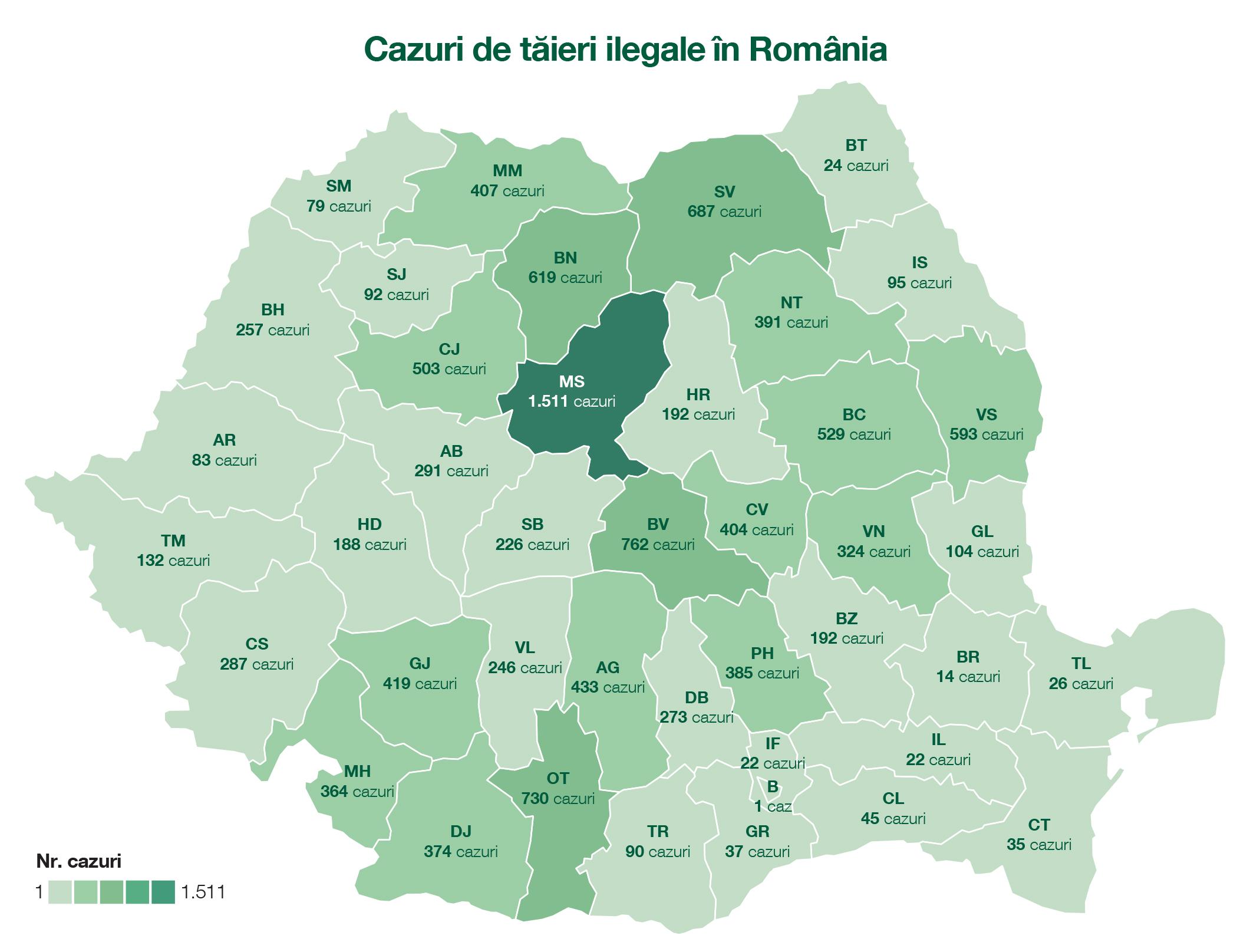 Harta Tăierilor Ilegale Din Păduri Pentru Anul 2017 Mureș Brașov