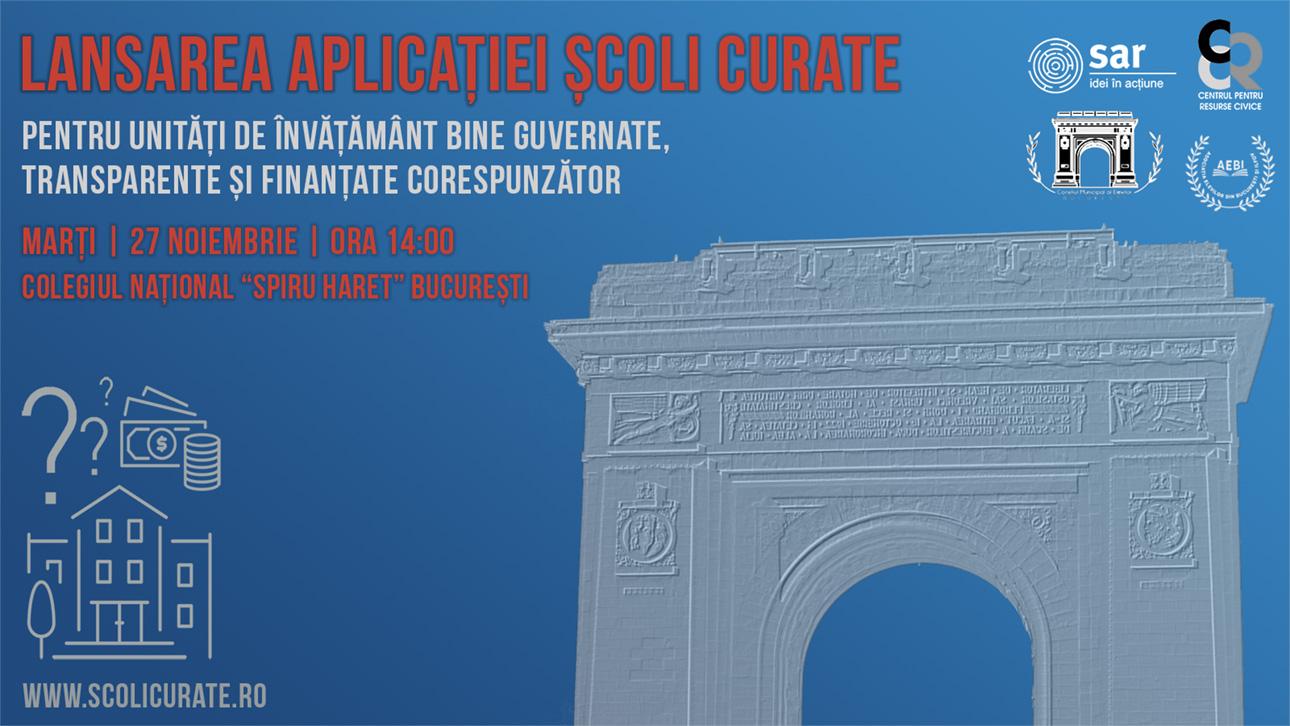Vă invităm la lansarea oficială a aplicației Școli Curate în București!