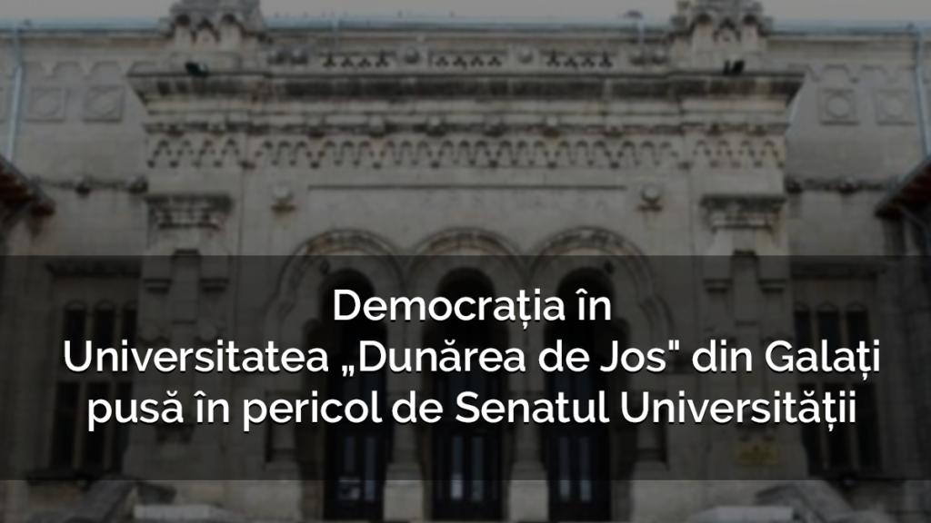 """ANOSR: democrația în Universitatea """"Dunărea de Jos"""" din Galați este pusă în pericol de Senatul Universității"""