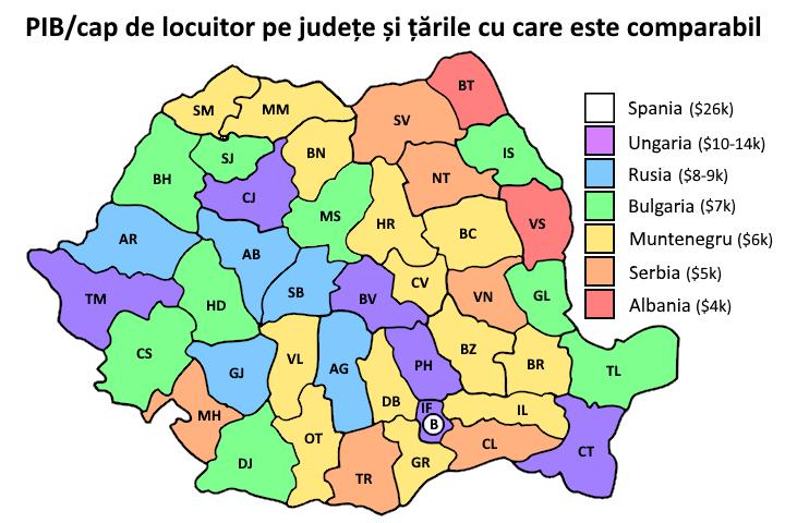 Județele cu economie ca în Spania și județele cu economie ca în Albania