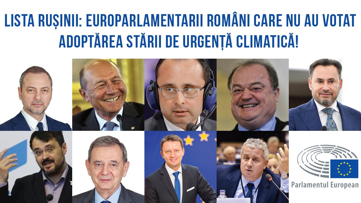 Lista rușinii: europarlamentarii români care au votat împotriva adoptării stării de urgență climatică