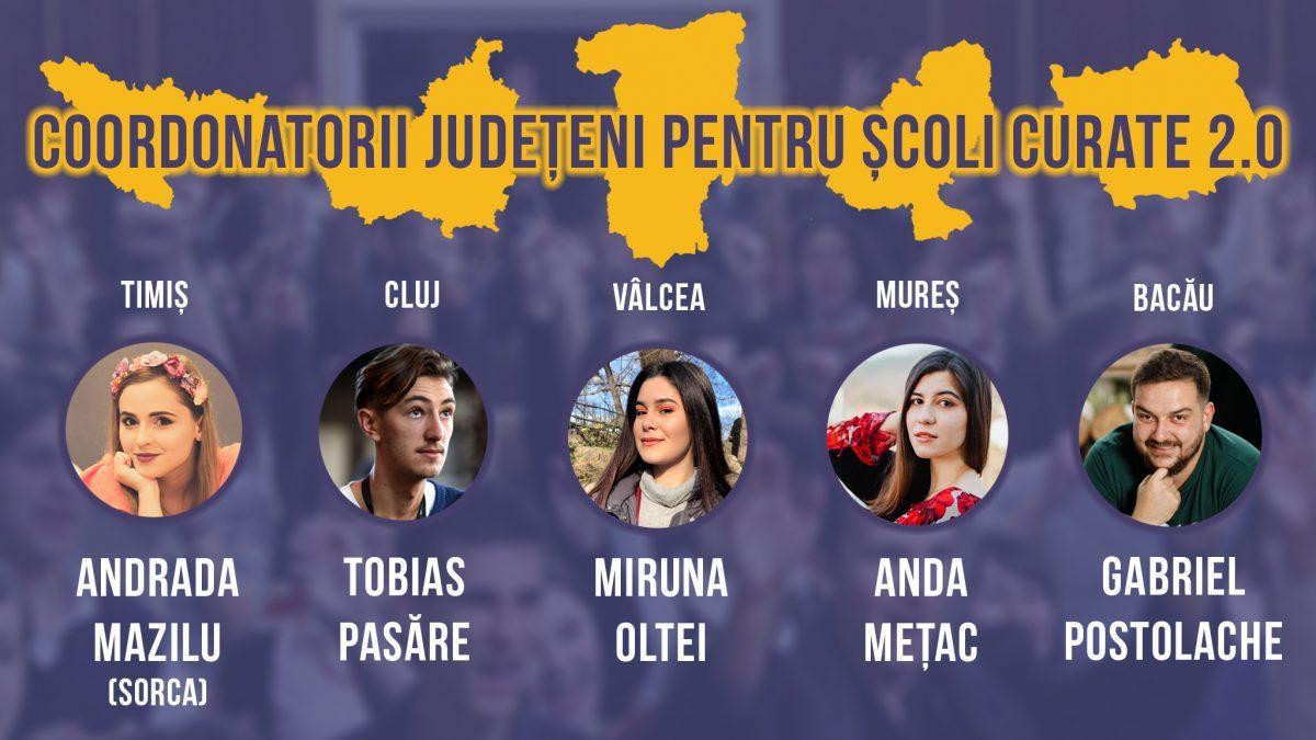 Cine sunt coordonatorii Școli Curate 2.0 alături de care vom lucra în cele 5 județe din proiect